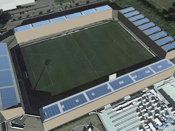Solar-PV systeem op dak van MVV Geusselt stadion